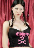 Little Tranny in pirate clothes plays with her cock